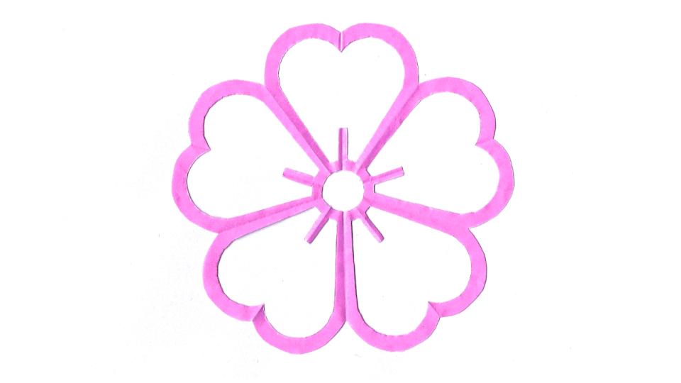 陰桜(かげさくら)の家紋切り紙