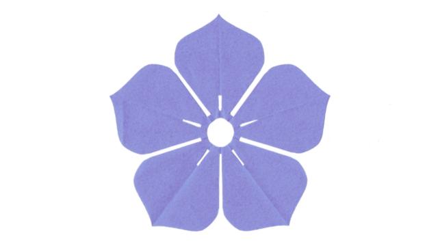 桔梗(ききょう)の家紋切り紙