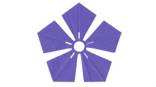 剣形桔梗(けんがたききょう)の家紋切り紙