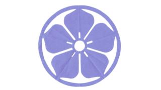 丸に桔梗(まるにききょう)の家紋切り紙