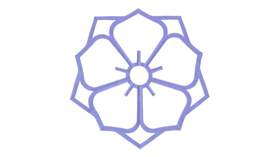 陰八重桔梗(かげやえききょう)の家紋切り紙