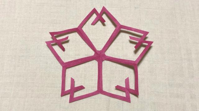 山形桜(やまがたさくら)の家紋切り紙