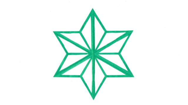 陰麻の葉(かげあさのは)の家紋切り紙