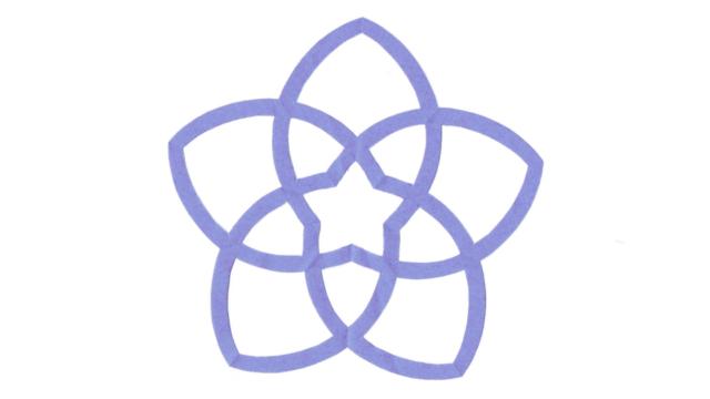 桔梗釜敷き(ききょうかましき)の家紋切り紙